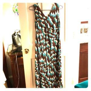 Geometric Silk Dress - M
